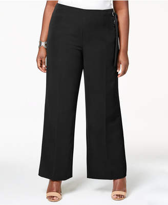 NY Collection Plus Size Lace-Up Wide-Leg Pants