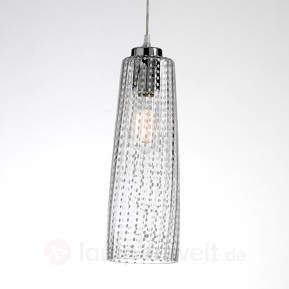 Glas-Hängeleuchte Perle mit transparentem Schirm