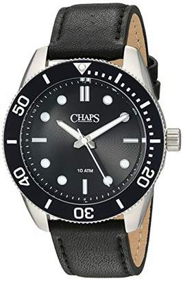 Chaps Men's Bransen Diver Stainless Steel Analog-Quartz Leather Strap