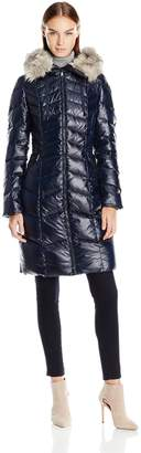T Tahari Women's Emma Fitted Down Coat with Detachable Faux Fur Hood