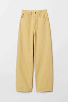H&M Wide High Waist Jeans - Yellow