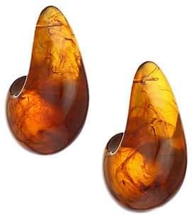 Lizzie Fortunato Women's Brown Acrylic Abstract Teardrop Post Earrings