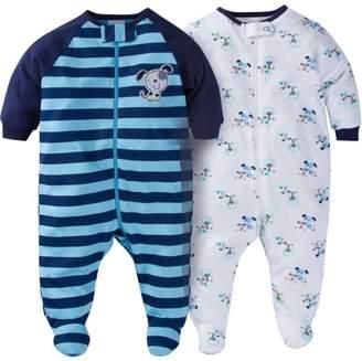Gerber Newborn Baby Boy Zip Front Sleep N Play Footed Sleepers, 2-Pack