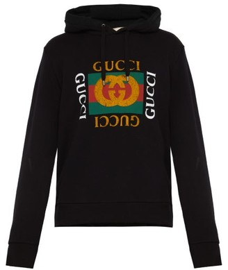 Gucci Fake Logo Print Cotton Jersey Hooded Sweatshirt - Mens - Black