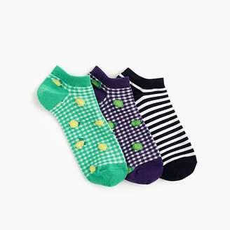 J.Crew Ankle sock three-pack in gingham fruit