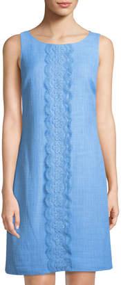 Karl Lagerfeld Paris Sleeveless Lace-Center Tweed Shift Dress