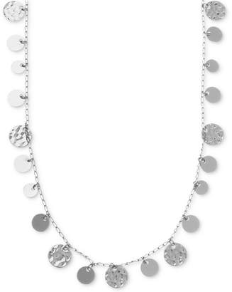 Nine West Necklace, Silver-Tone Hammered Disc Strand Necklace