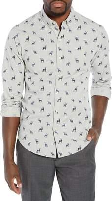 Bonobos Washed Button Down Slim Fit Stag Print Sport Shirt