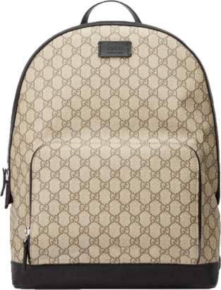 c7bbe670a Gucci GG Supreme Backpack Front Zipper Pocket Beige/Black