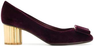 Salvatore Ferragamo flower heel bow pumps
