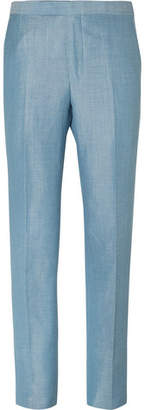 Richard James Blue Slim-Fit Wool, Linen And Mohair-Blend Suit Trousers