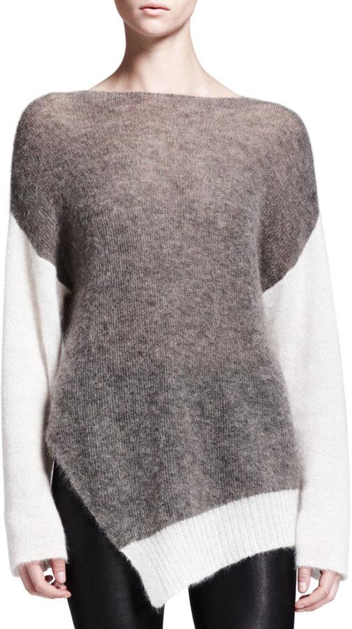 Helmut Lang Brushed Colorblock Asymmetric Sweater