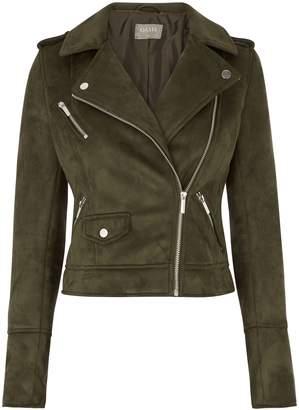 cd6e518c62a05 Next Womens Oasis Green Faux Suede Biker Jacket