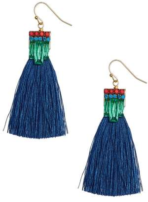 SANDY HYUN Stone Tassel Drop Earrings