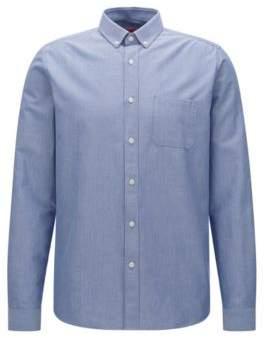 HUGO BOSS Cotton Button Down Shirt, Relaxed Fit Emingway M Open Blue