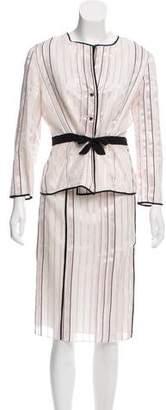 Lela Rose Silk Striped Skirt Set