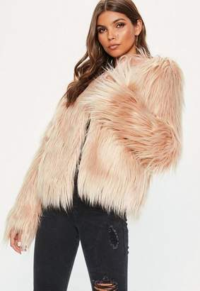 Missguided Nude Shaggy Faux Fur Coat
