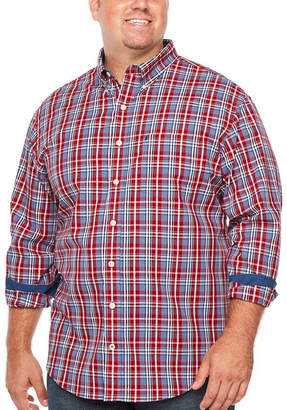 Izod Premium Essential Wovens Mens Long Sleeve Plaid Button-Front Shirt Big and Tall