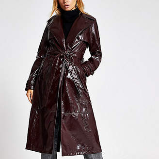 River Island Dark purple vinyl belted trench coat
