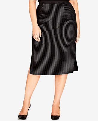 City Chic Trendy Plus Size Pinstriped Bodycon Skirt