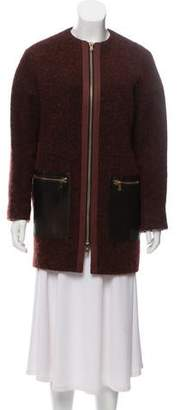 Etro Leather-Accented Tweed Coat