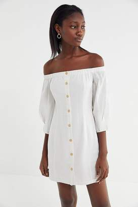 Urban Outfitters Charlie Linen Off-The-Shoulder Mini Dress