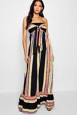 boohoo NEW Womens Tall Knot Front Stripe Maxi Dress in Polyester