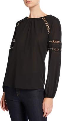 Neiman Marcus Long-Sleeve Grommet-Detail Chiffon Blouse