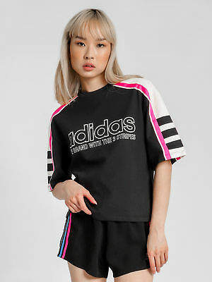 adidas New Womens Linear Og T Shirt In Black Tops & T Shirts