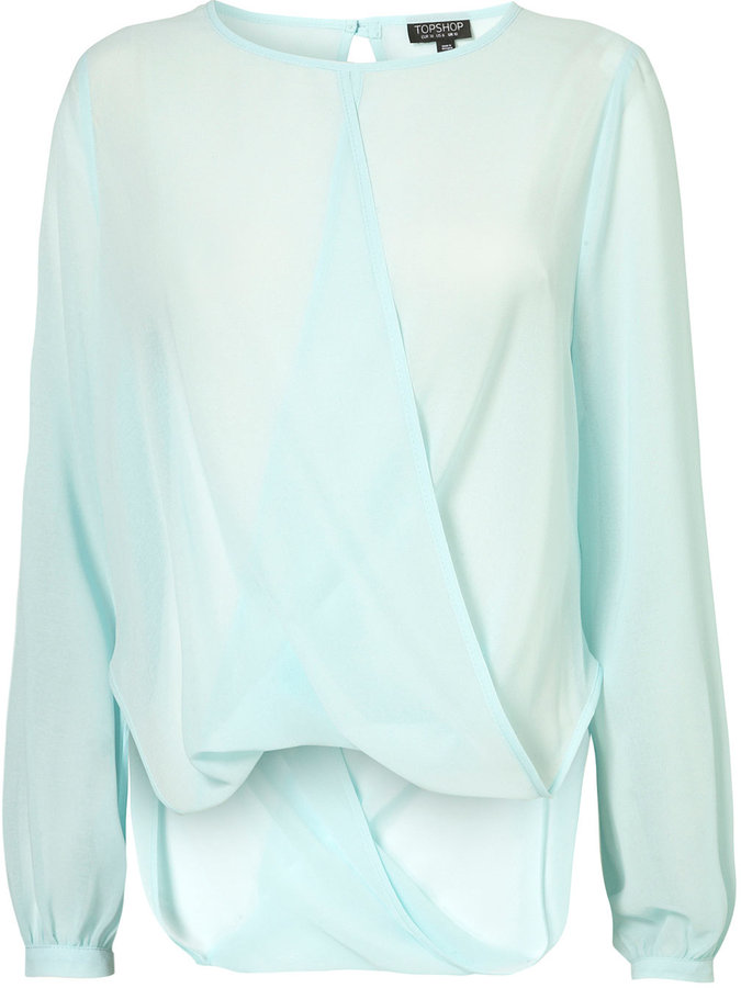 Drape Front Long Sleeve Top
