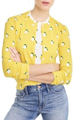 Women's J.crew Jackie Lemon Print Cardigan $79.50 thestylecure.com
