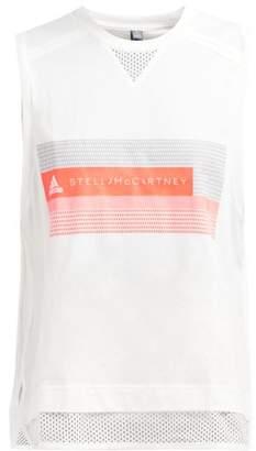 adidas by Stella McCartney Logo Print Cotton Blend Jersey Tank Top - Womens - White