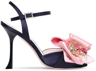Roger Vivier 100mm Satin Sandals W/ Flower Appliqué