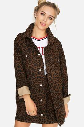 Girls On Film Ronnie Leopard Denim Jacket