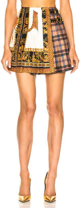 Versace Mixed Print Pleated Skirt