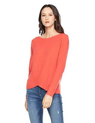 Peplum Pointe Long Sleeve Boat Neck Knit Pullover Wool Sweater for Women (