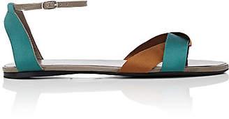The Row Women's Ribbons Leather & Satin Sandals - Taupe - Emerald