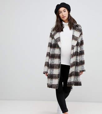Mama Licious Mama.Licious Mamalicious maternity check wool zip detail coat