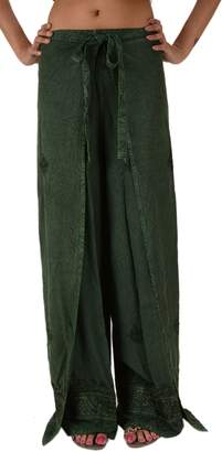 N. Skirts 'N Scarves Women's Embroidered Rayon Wrap / Palazzo Pant (Green)