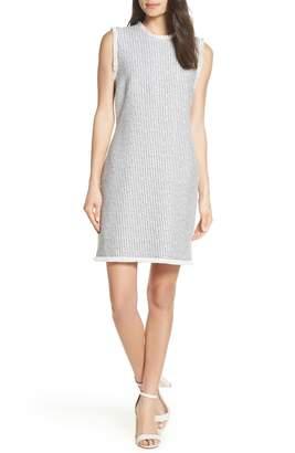 Charles Henry Fringe Trim Stripe Shift Dress