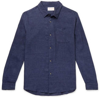 Derek Rose Monaco Melange Linen Shirt - Men - Navy