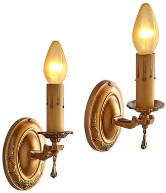 Rejuvenation Pair of Candle Sconce w/ Polychrome Finish