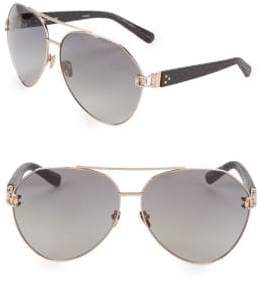 Linda Farrow 60MM Snakeskin Arm Aviator Sunglasses