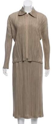 Pleats Please Issey Miyake Midi Plissé Skirt Suit
