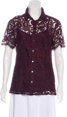 Burberry Lace Button-Up Blouse
