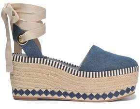 Tory Burch Lace-Up Denim Platform Espadrilles