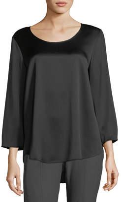 Eileen Fisher 3\/4-Sleeve Silk Satin Blouse