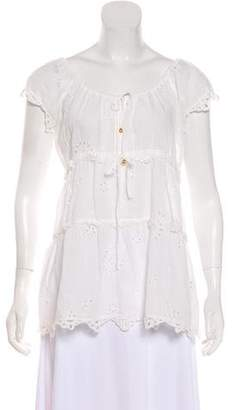 ALICE by Temperley Short Sleeve Embroidered Top