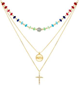 Lesa Michele Crystal Cross Pendant Layered Necklace