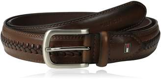 Tommy Hilfiger Men's Big-tall Casual Belt With Double Stitch Edges and Center Lace Detail